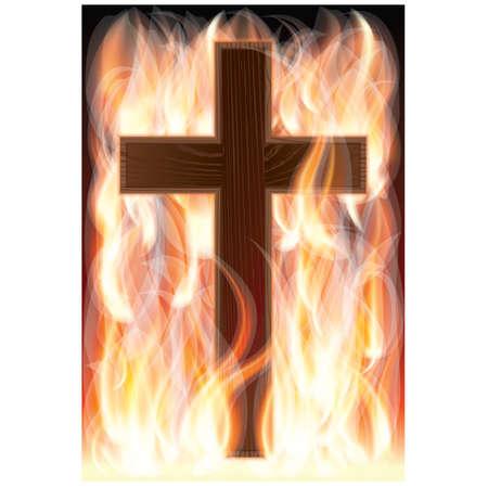 Cruz en llamas, ilustración vectorial