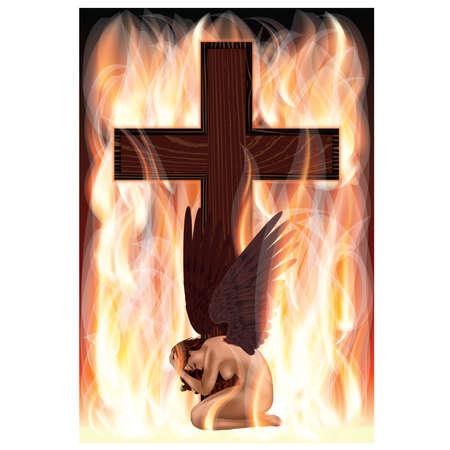 Ángel caído y Cruz. ilustración vectorial