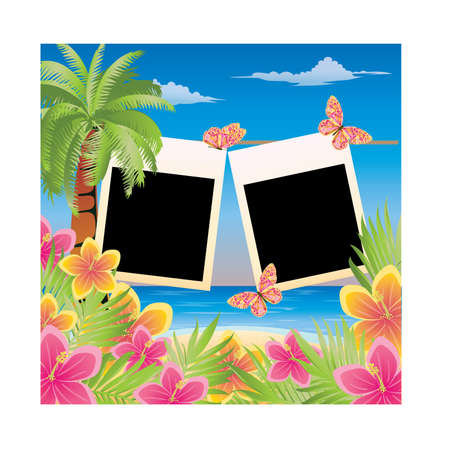 Summer scrapbooking card for two photo. vector illustration  Vector