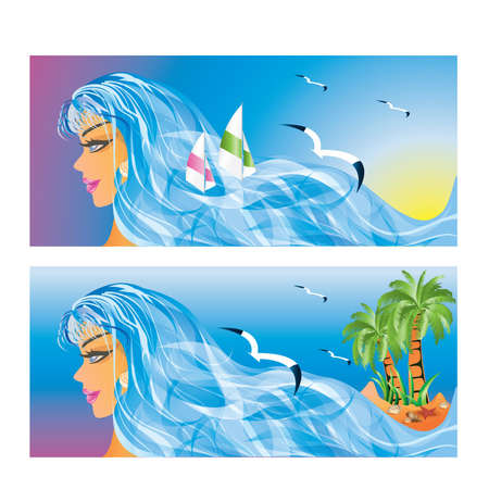Two tropical banners with sea-girl.  Vector
