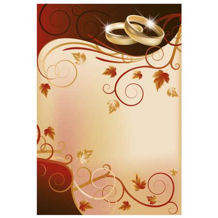 Autumn wedding invitation card Vector