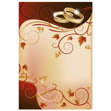 Autumn wedding invitation card