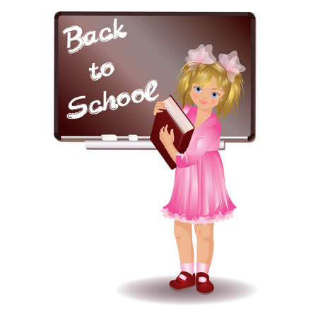 grades: School girl with book Illustration