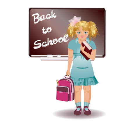 School girl in uniform with schoolbag Vector
