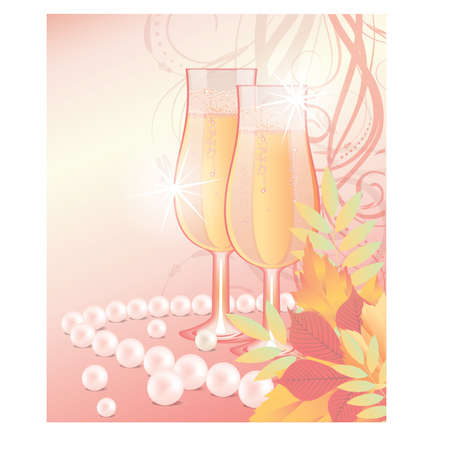 Autumn love wedding card, vector illustration Vector