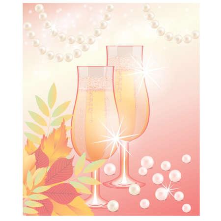 Autumn wedding card, vector illustration Stock Vector - 10226333