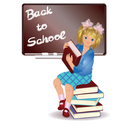 Back to school. little girl with book.  Vector