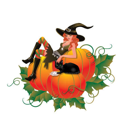 bewitched: Witch with pumpkin and black cat Illustration