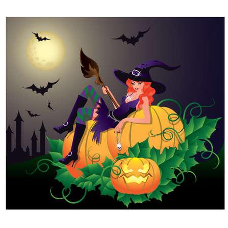brujas sexis: Tarjeta de noche de Halloween con bruja sexy