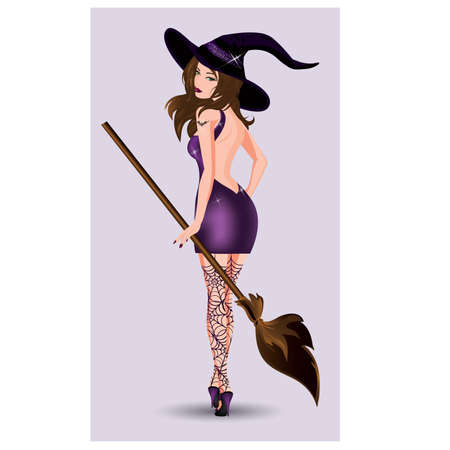 Sexy witch with broom, vector illustration