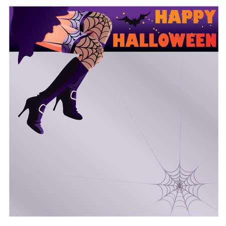 legs stockings: Biglietto di buon Halloween con gambe strega donna sexy Vettoriali