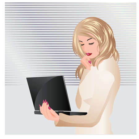 promotion girl: Business women working with a notebook