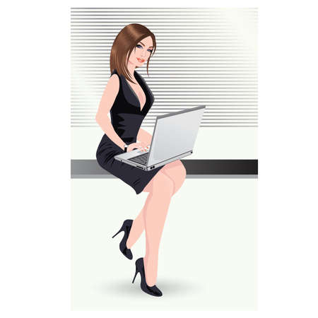 office plan: Sexy business woman