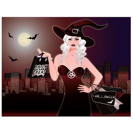 hat trick: Lo shopping notte di Halloween Vettoriali