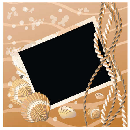 scratch card: Photo frame with seashell illustration