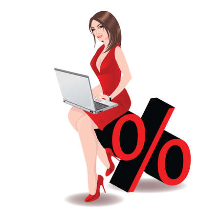 percentage: Business woman holding laptop computer and Percent symbol