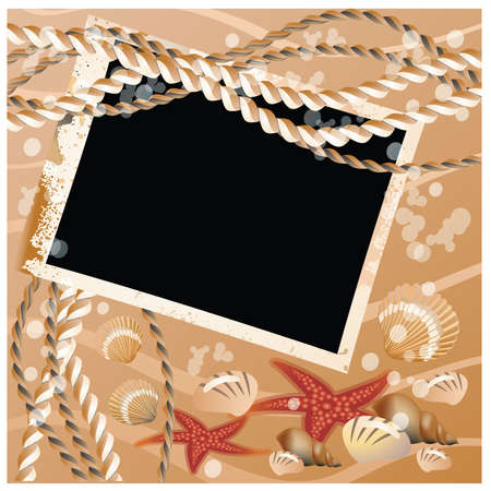 Photo card with shell Vector
