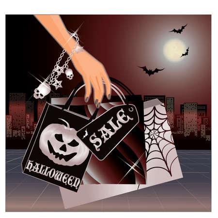 Halloween shopping card Vector