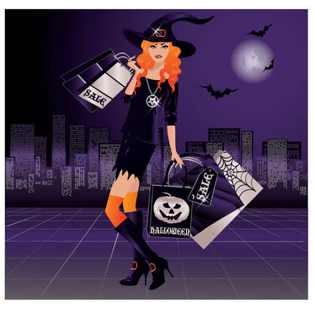 witch face: Halloween witch shopping, vector illustration Illustration