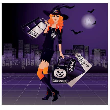 sorci�re halloween: Sorci�re de Halloween shopping, illustration vectorielle Illustration