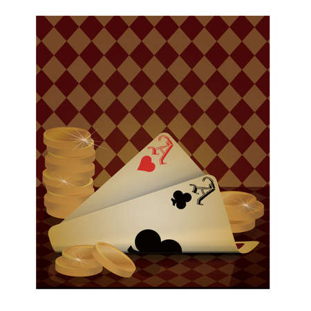 coined: Poker card old wallpaper, vector illustration