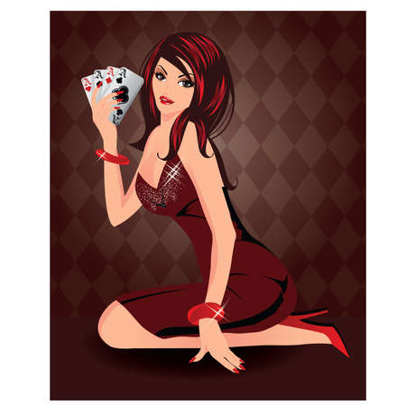 poker hand: Beautiful woman  with poker cards, vector illustration
