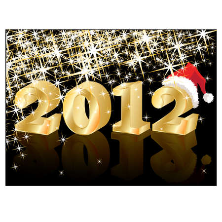 Christmas Greeting Crad, Golden New Year 2012, vector illustration Stock Vector - 10505017