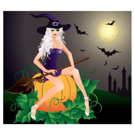 Beautiful Sexy witch. Halloween card. illustration Vector