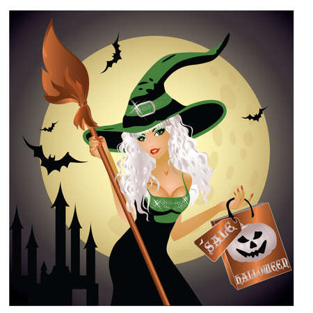 sexy costume: Halloween shopping witch, illustration Illustration