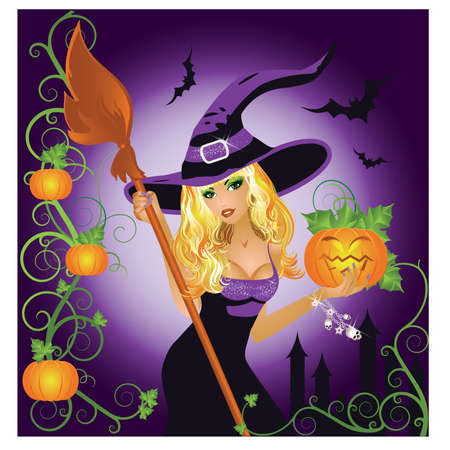 broomstick: Halloween sexy witch with pumpkin, illustration Illustration
