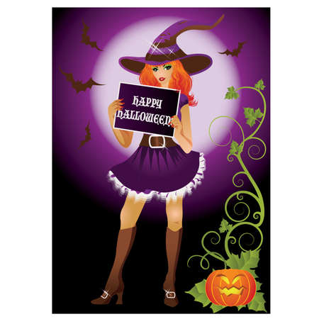 halloween message: Girl witch with banner in halloween style. illustration Illustration