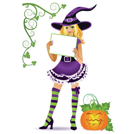 point of sale: Halloween beautiful witch isolated commercial message, illustration Illustration