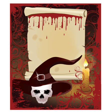 summon: Old Scroll with candle and skull, vector illustration