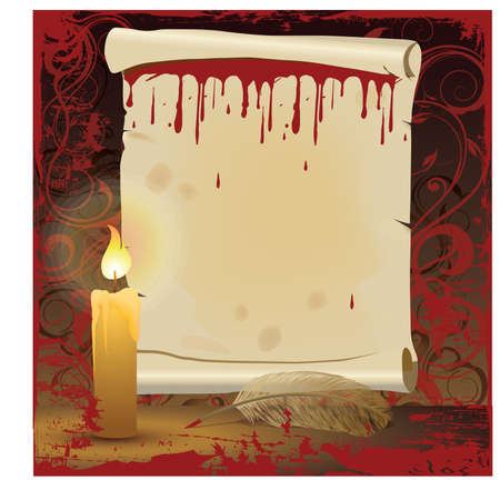 halloween message: Old background with scroll and candle, vector illustration Illustration
