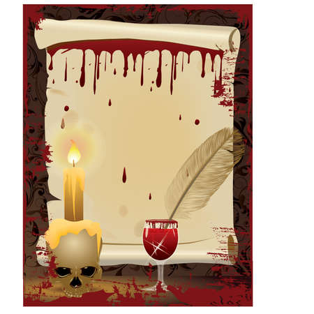 voodoo: Halloween background. Old scroll and Pen writes in blood, vector illustration