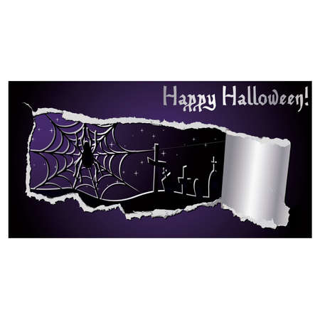 Halloween banner with spiderweb, vector illustration Vector