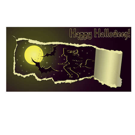 Halloween banner with girl witch, vector illustration Stock Vector - 10742957