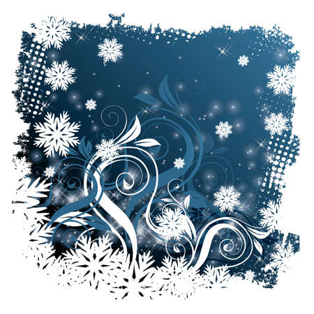 Winter blue card with snowflakes Vector