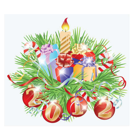 thawing: New Years card with toys and candle, vector illustration Illustration
