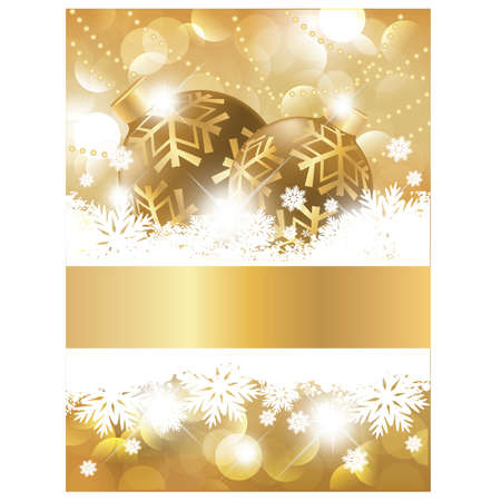 Saludo de oro tarjeta de navidad, ilustraci�n vectorial