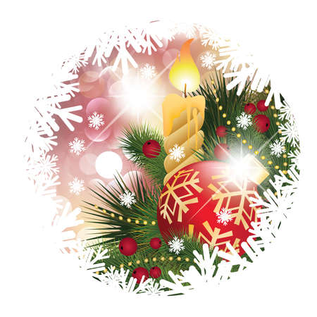 Christmas card with candle and ball, vector illustration Vector