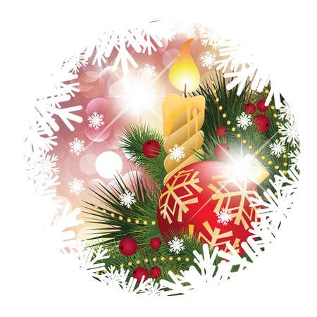 Tarjeta de Navidad con velas y bolas, ilustración vectorial Ilustración de vector