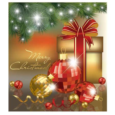 natal: Christmas card with balls. Illustration