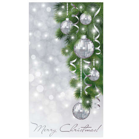 spangle: Winter banner with silver xmas balls, vector illustration Illustration