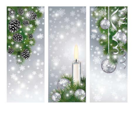 fir cone: Set banderas de plata con bolas de navidad de invierno y la vela, el vector