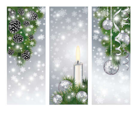 Set silver winter banners with xmas balls and candle, vector  Vector