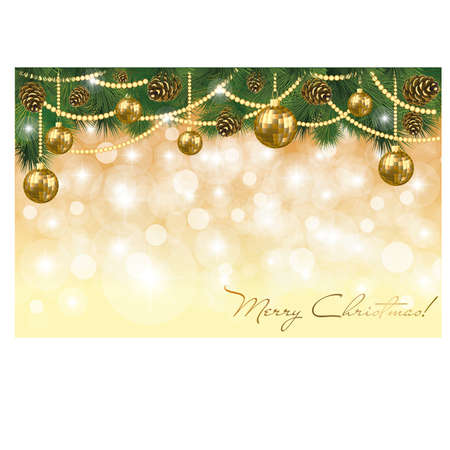 Winter banner with golden xmas balls, vector illustration Vector