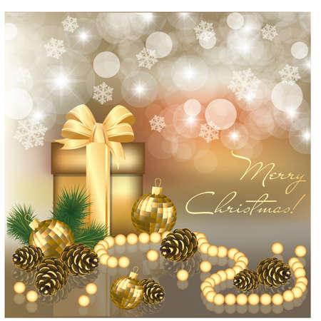 pinecone: Christmas greeting card, vector illustration Illustration