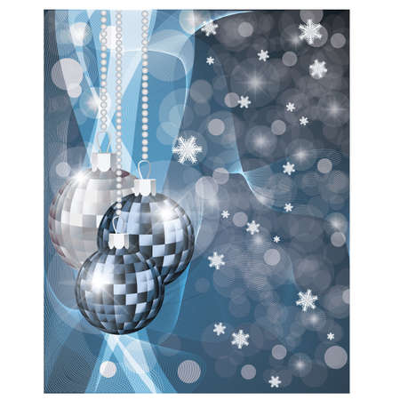 silver jewellery: Winter banner with xmas blue balls, vector illustration
