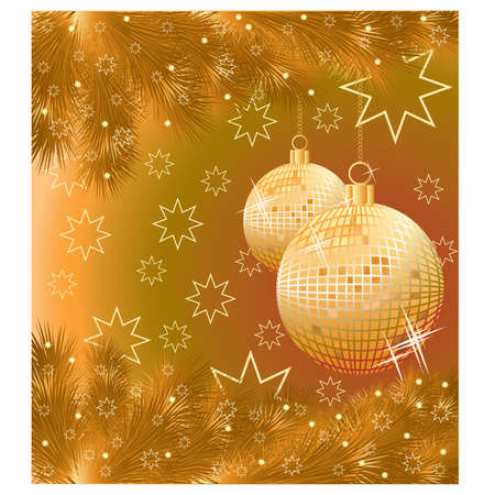 Golden Christmas card with two balls, vector illustration Stock Vector - 11250350